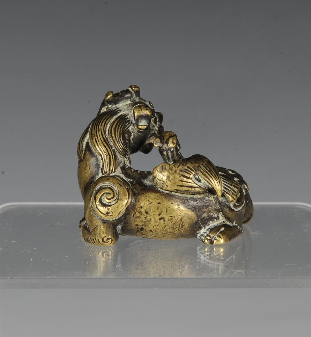 Gilt Bronze Beast Paper Weight, Ming Dynasty - 3