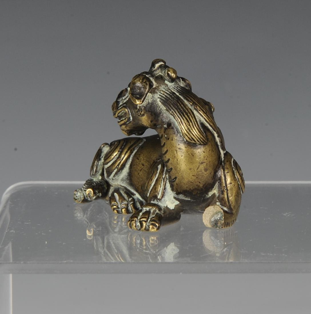 Gilt Bronze Beast Paper Weight, Ming Dynasty - 4