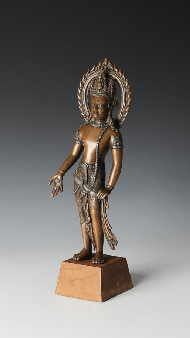 Indian Bronze Buddha w/ Silver Inlay, 19th C