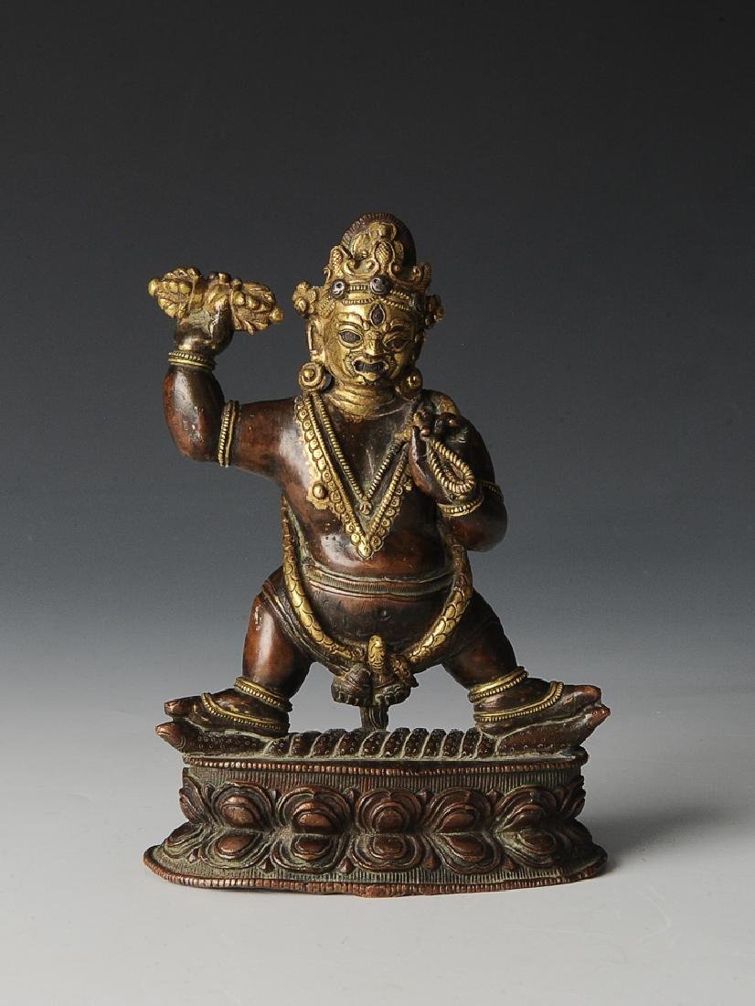 Gilt Bronze w/ Silver Inlay Yamantaka Statue, Ming