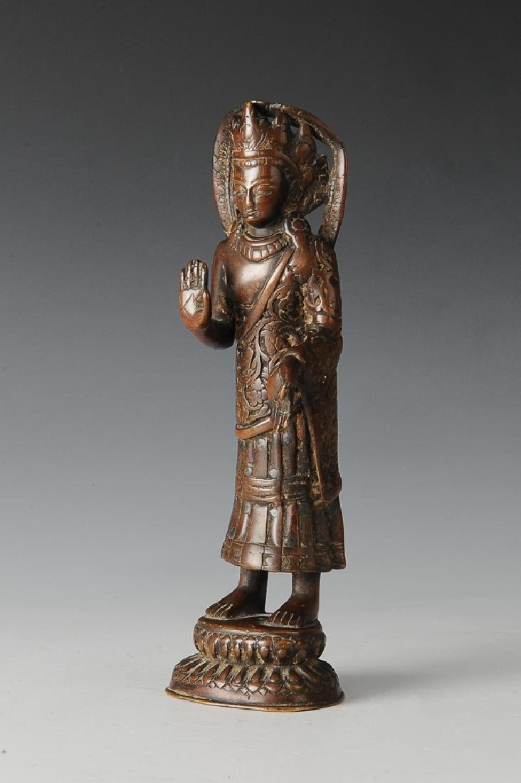 Bronze Statue of Buddha w/ Silver Inlay, 15th
