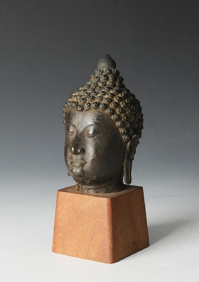 Southeast Asian Head of a Bronze Buddha