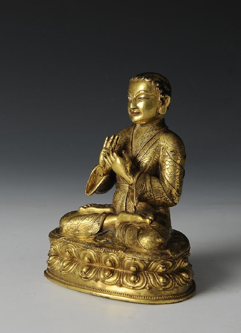 Gilt Bronze Figure of a Lama, 17th Century