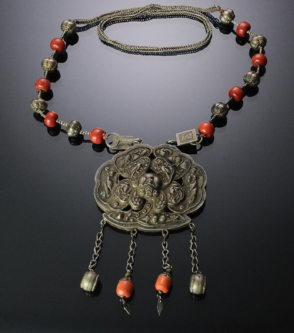 Chinese Silver Necklace with Coral, 19th C