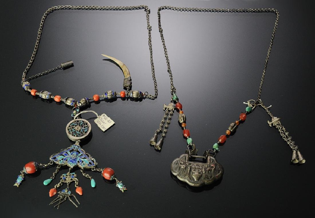 Two Chinese Silver Necklaces, 19th Century