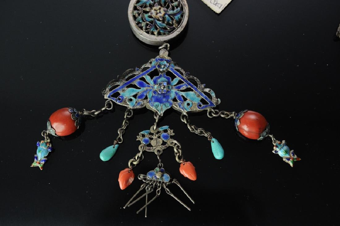 Two Chinese Silver Necklaces, 19th Century - 5