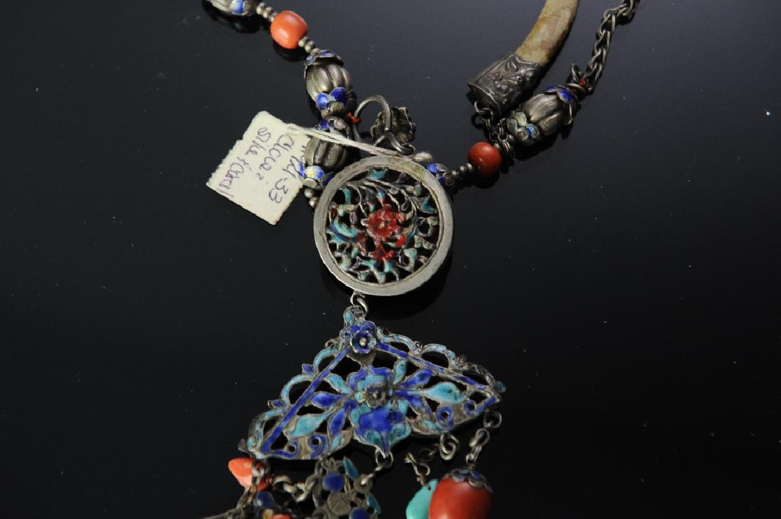 Two Chinese Silver Necklaces, 19th Century - 6