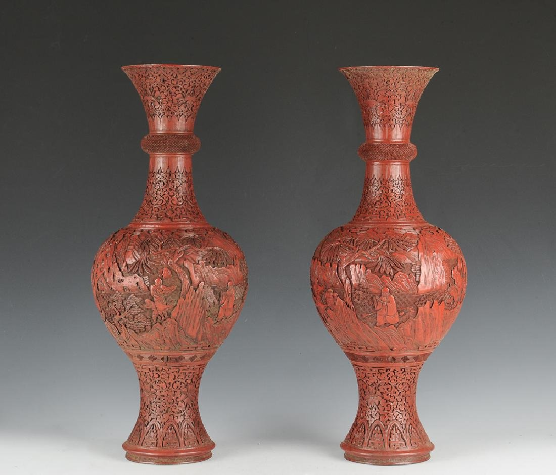 Chinese Pair of Cinnabar Vases, Late 19th C