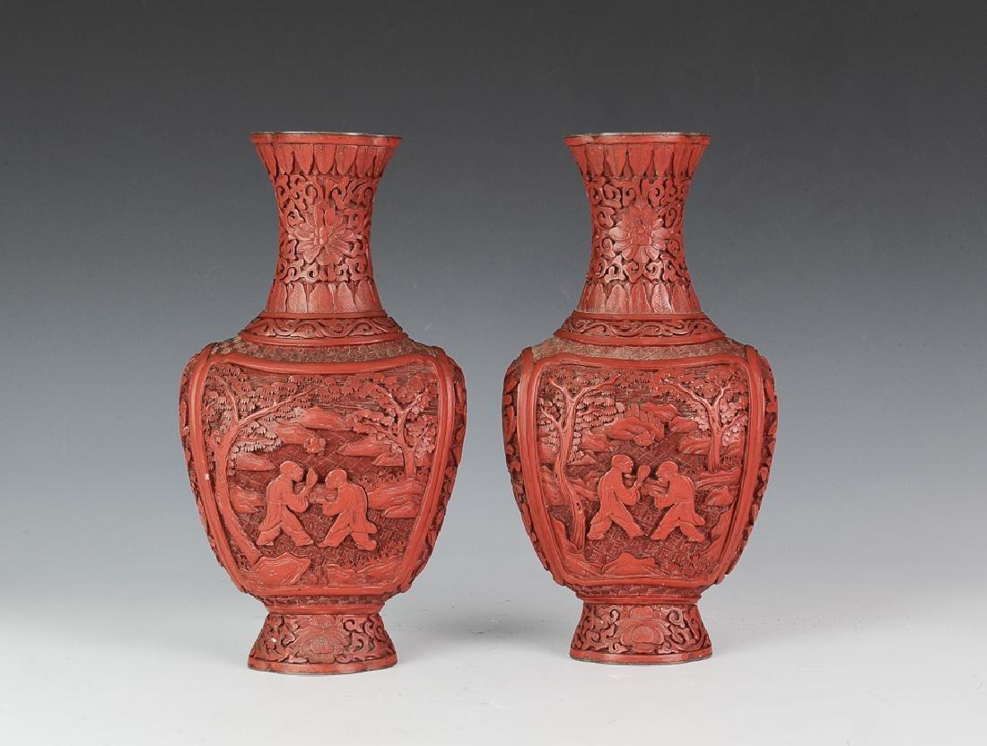 Chinese Pair of Cinnabar Vases, 19th Century