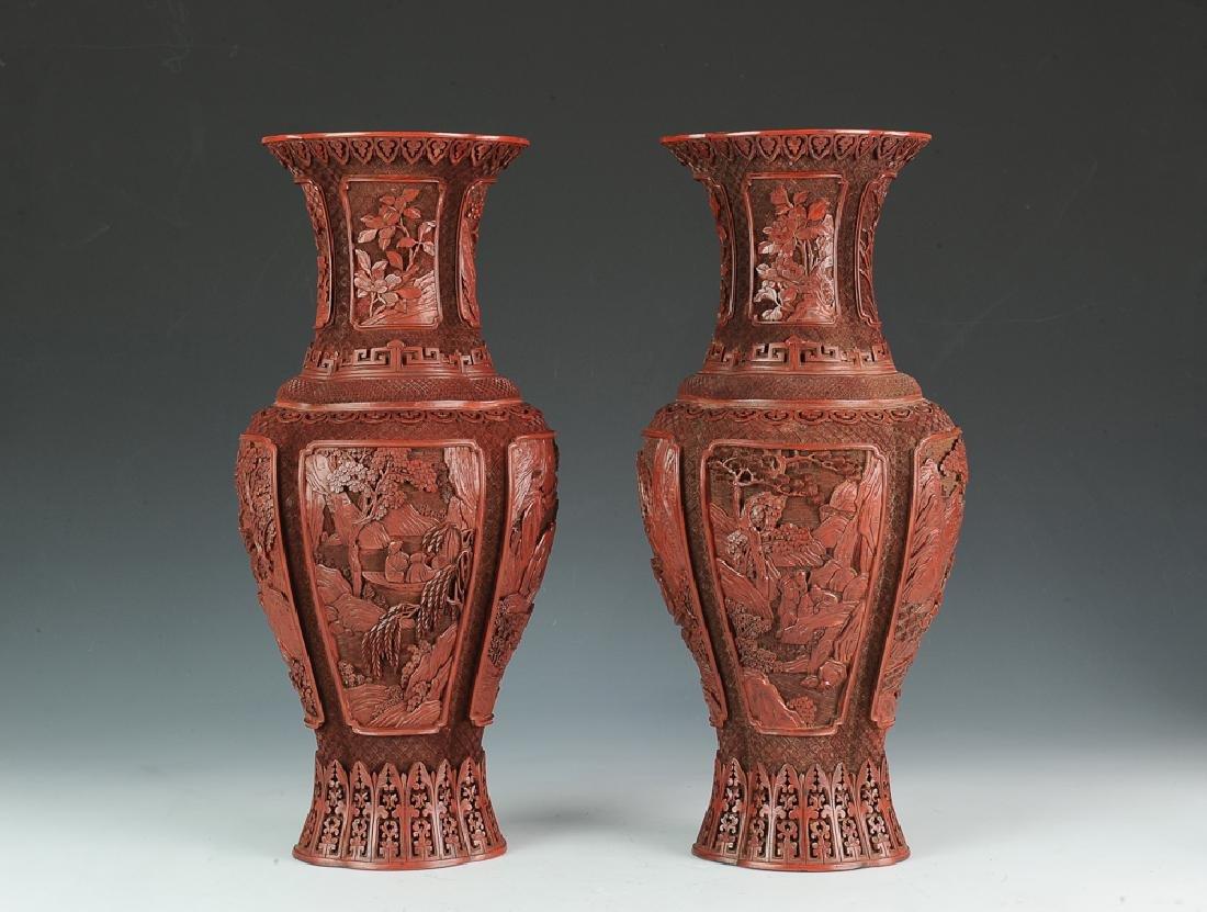 Chinese Pair of Cinnabar Vases, 18th-19th Century
