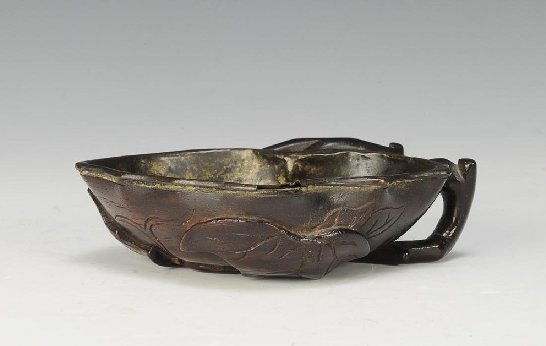 Chinese Carved Zitan Cup w/ Handle, 17th -18th C
