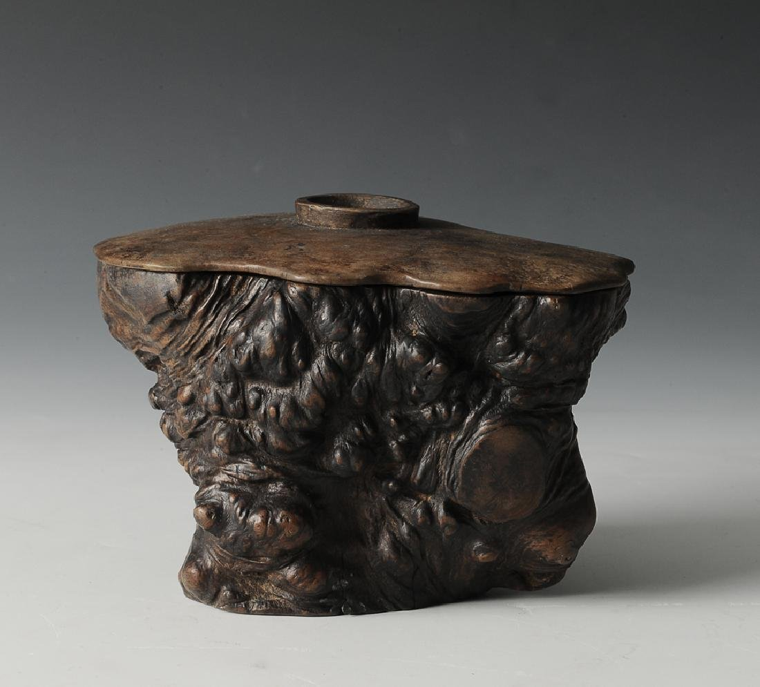 Chinese Carved Root Cup w/ Lid, 17th-18th C