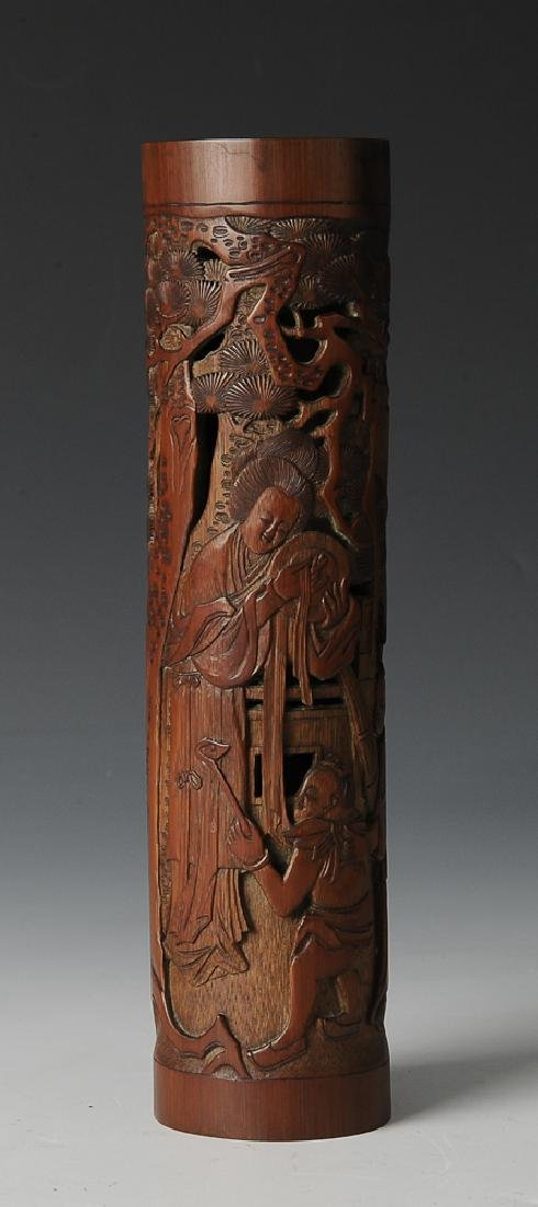 Chinese Bamboo Carved Incense Holder, 18th -19th C