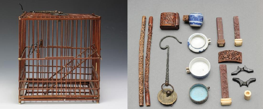 Bamboo Bird Cage w/ Accessories, 19th -20th C