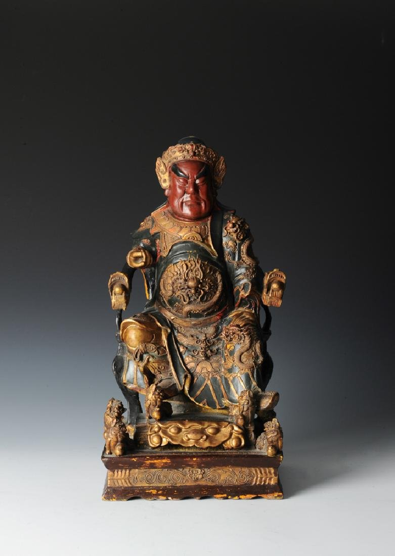 Wooden Statue of Guan Gong, Qing Dynasty