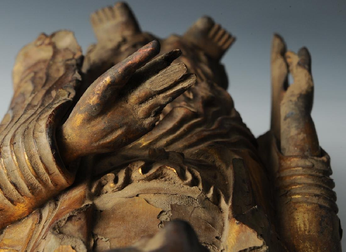 Gilt Wood Standing Buddha, 17th C or Earlier - 10