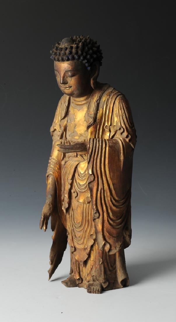 Gilt Wood Standing Buddha, 17th C or Earlier