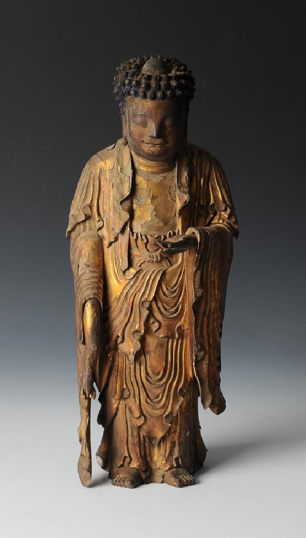 Gilt Wood Standing Buddha, 17th C or Earlier - 2