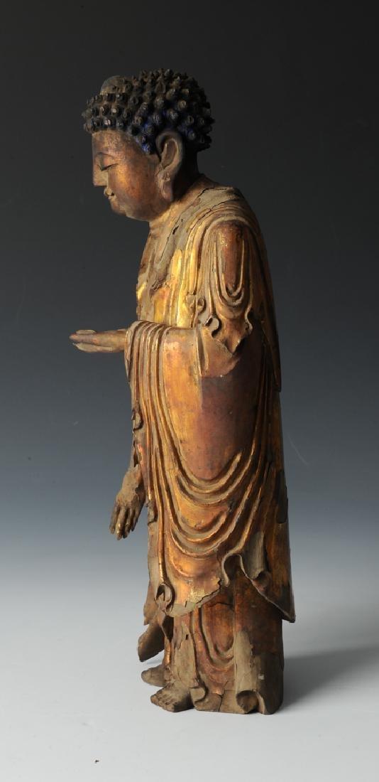 Gilt Wood Standing Buddha, 17th C or Earlier - 3