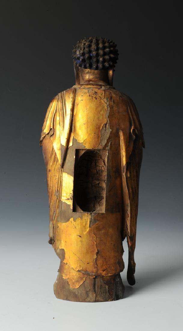 Gilt Wood Standing Buddha, 17th C or Earlier - 4