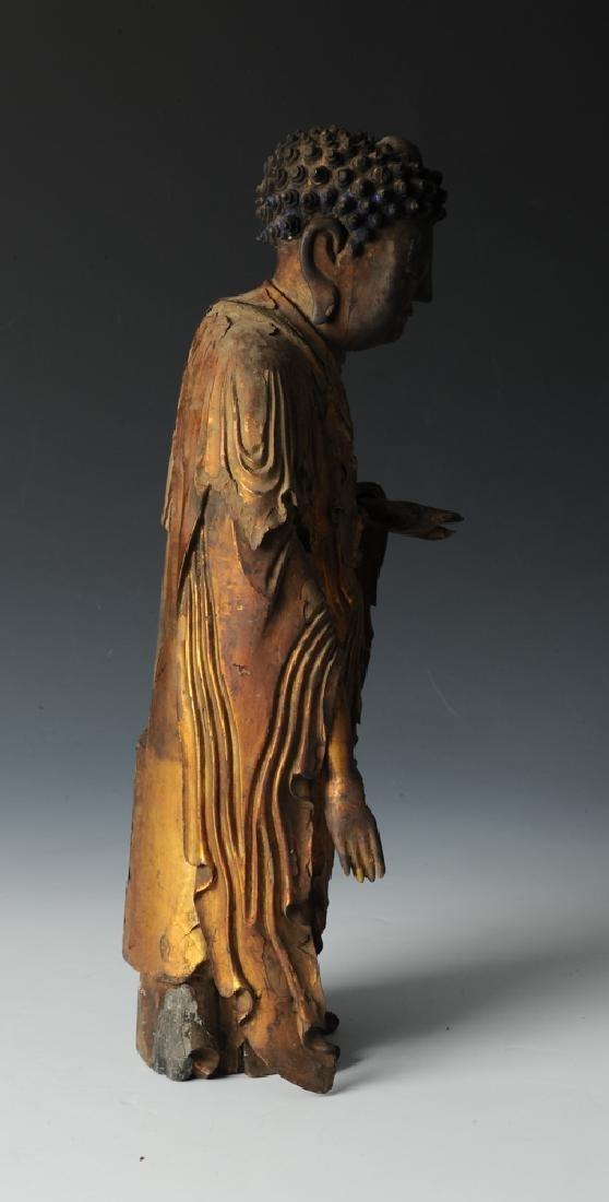 Gilt Wood Standing Buddha, 17th C or Earlier - 5