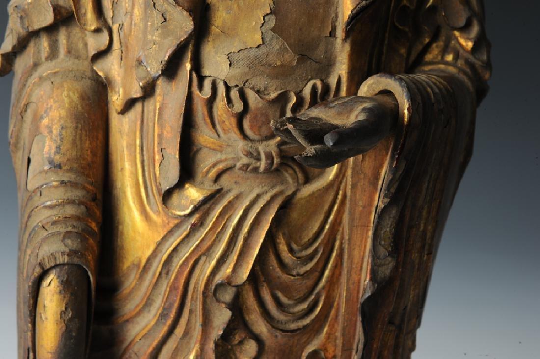 Gilt Wood Standing Buddha, 17th C or Earlier - 6