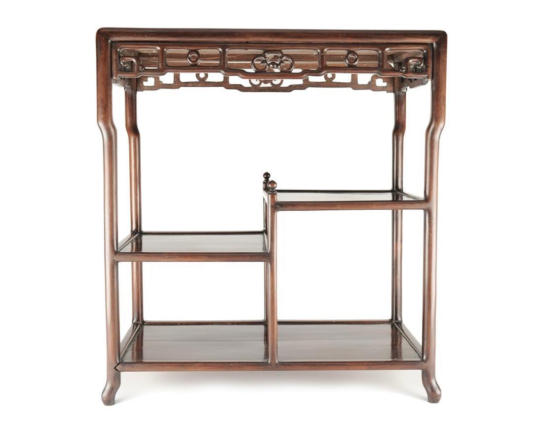 Rosewood Rectangular Table w/ Shelves, 19-20th C