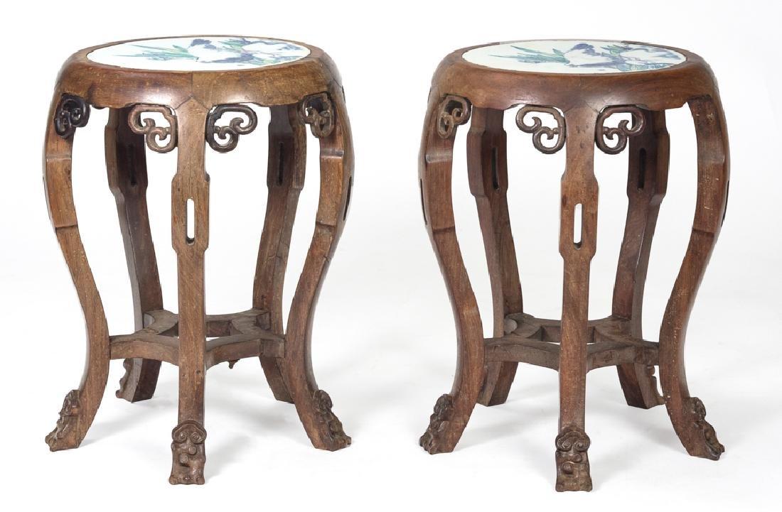 Pair of Wood Stools w/ Porcelain Plaques, Republic