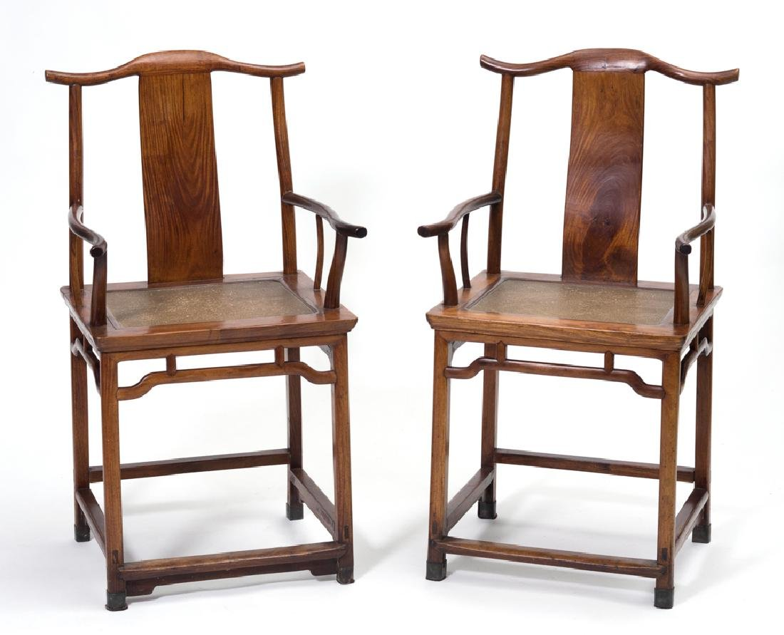 Pair of Huanghuali Arm Chairs, 18th C.