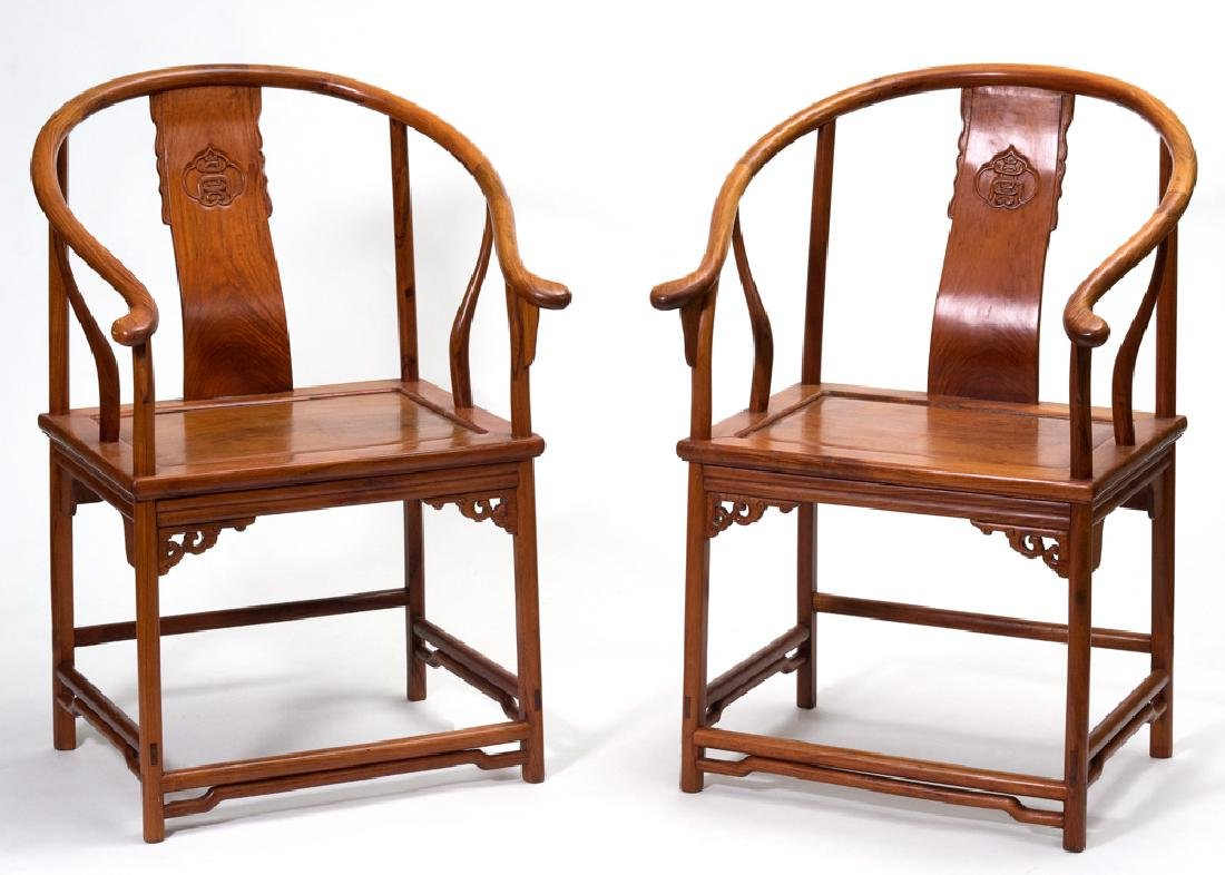 Pair of Huanghuali Arm Chairs, 19th - 20th Century