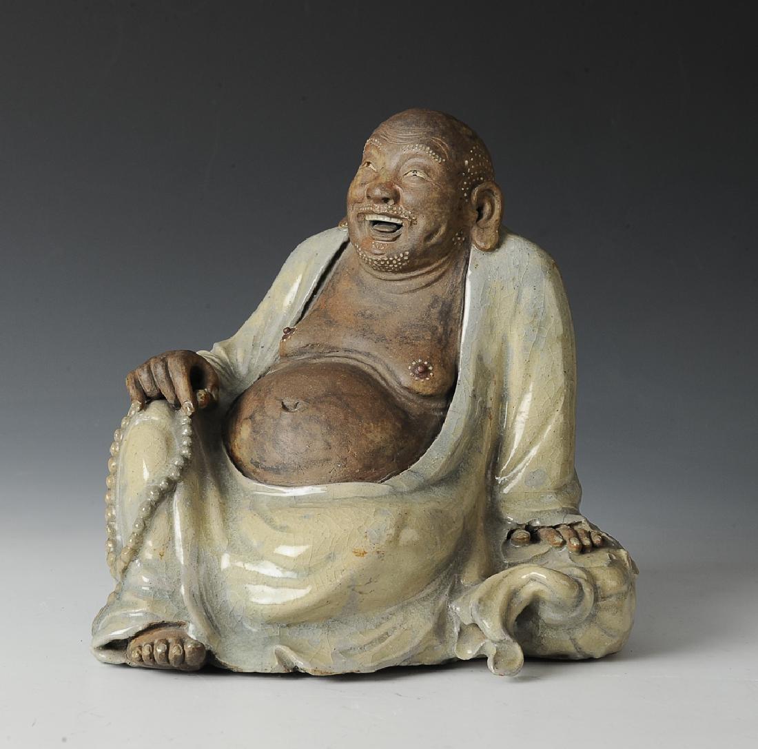 Chinese Shiwan Ceramic Budai Figure, 19th C.