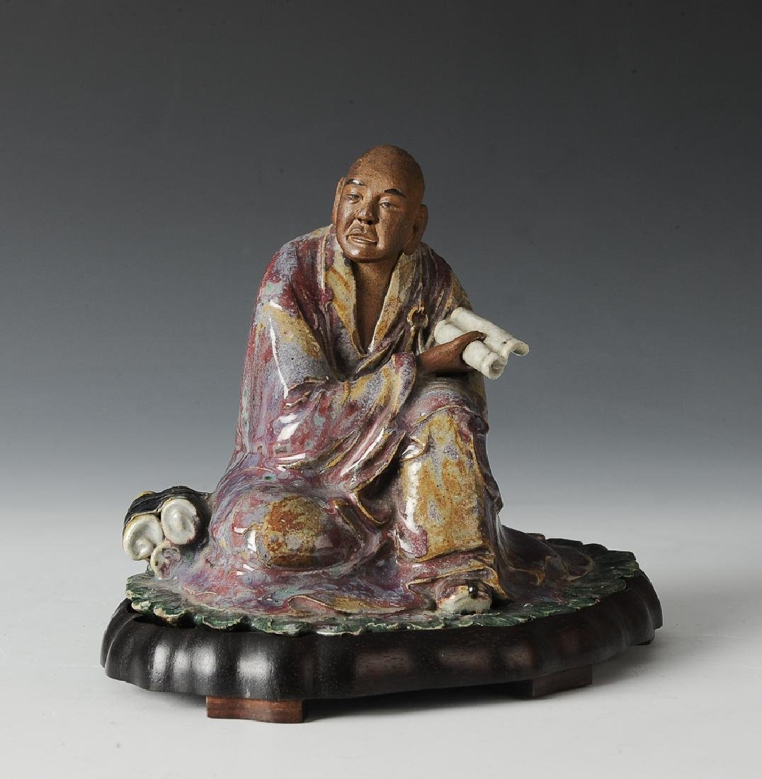 Shiwan Luohan w/ Book & Wood Stand, 18th-19th C.
