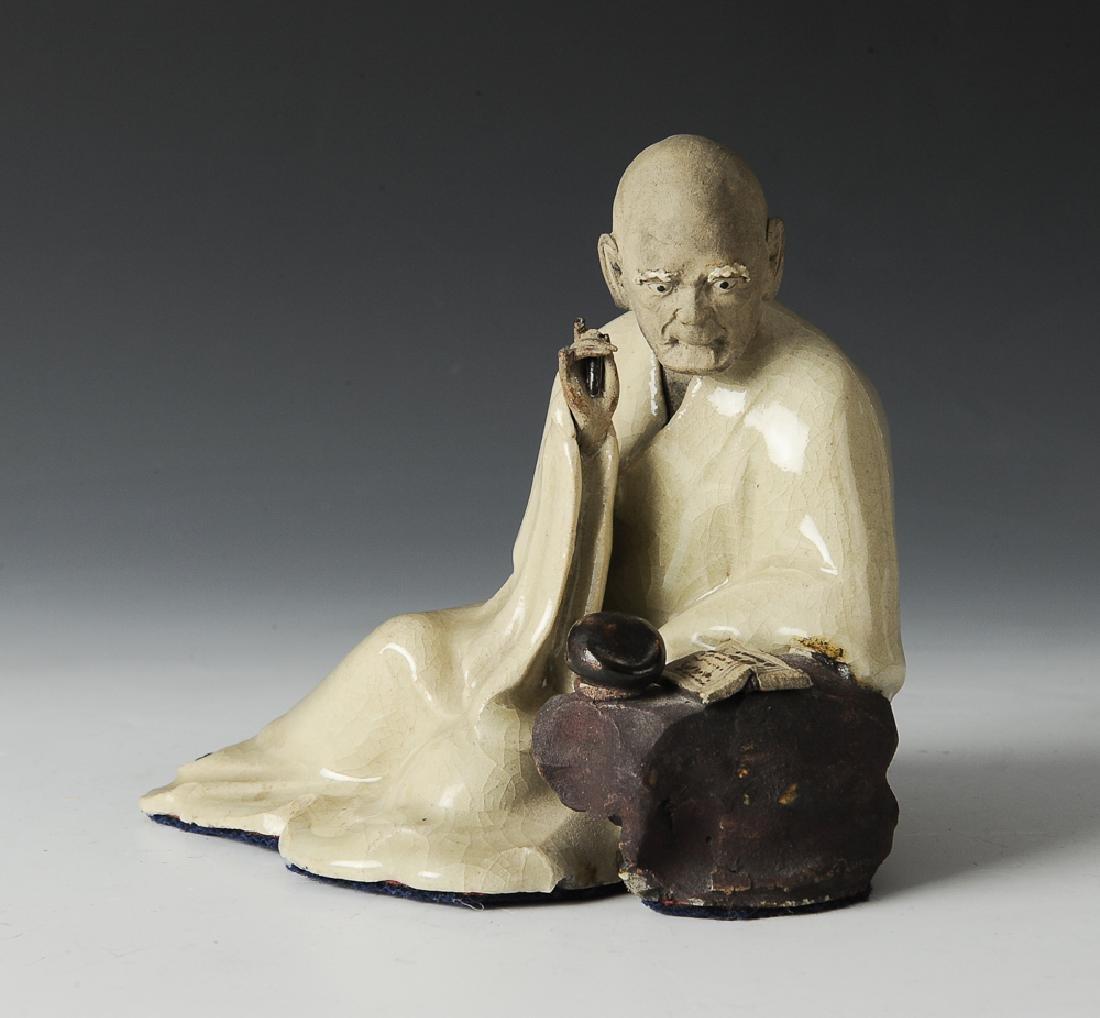 Shiwan Writing Luohan Statue, 19th C. - 6