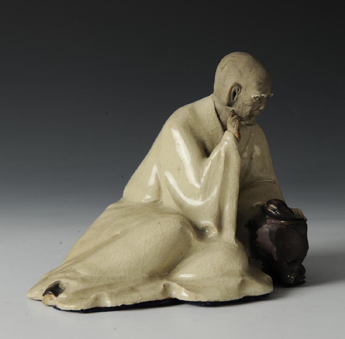 Shiwan Writing Luohan Statue, 19th C. - 7