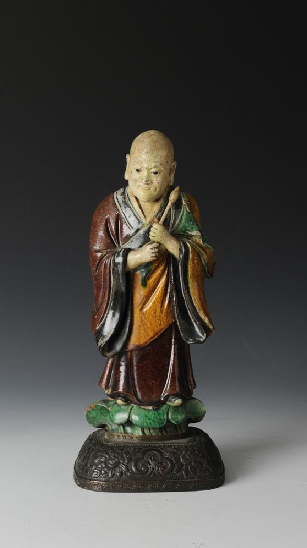 Statue of Luohan w/ Bronze Stand, 18-19th C