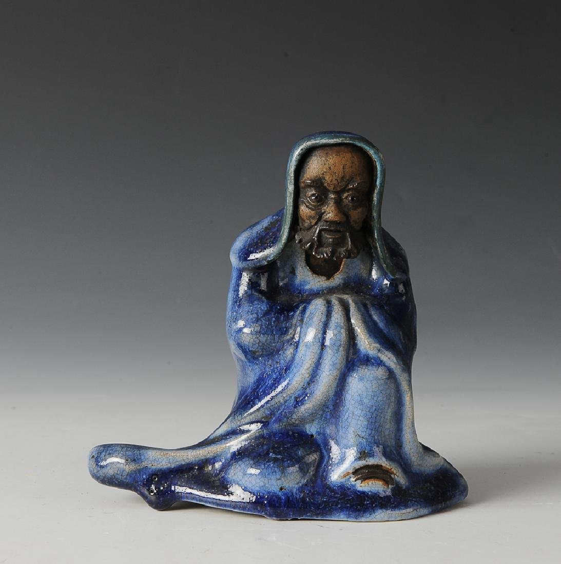 Shiwan Damo Statue w/ Blue Glaze, 19th C.