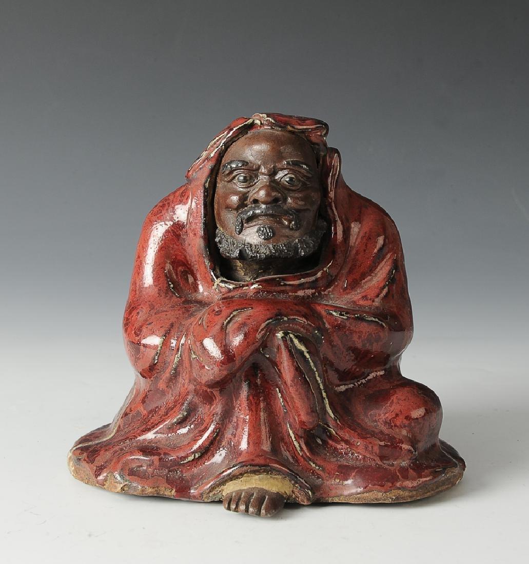 Shiwan Statue of Damo w/ Red Glaze, 19th C