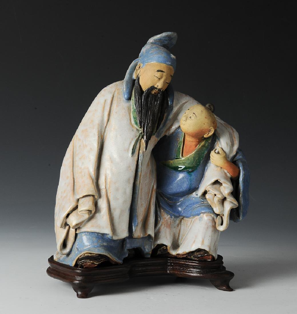 Shiwan Drunken Libai Statue w/ Stand, 19th C