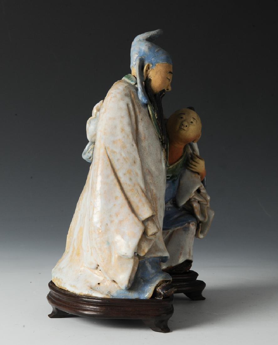 Shiwan Drunken Libai Statue w/ Stand, 19th C - 2