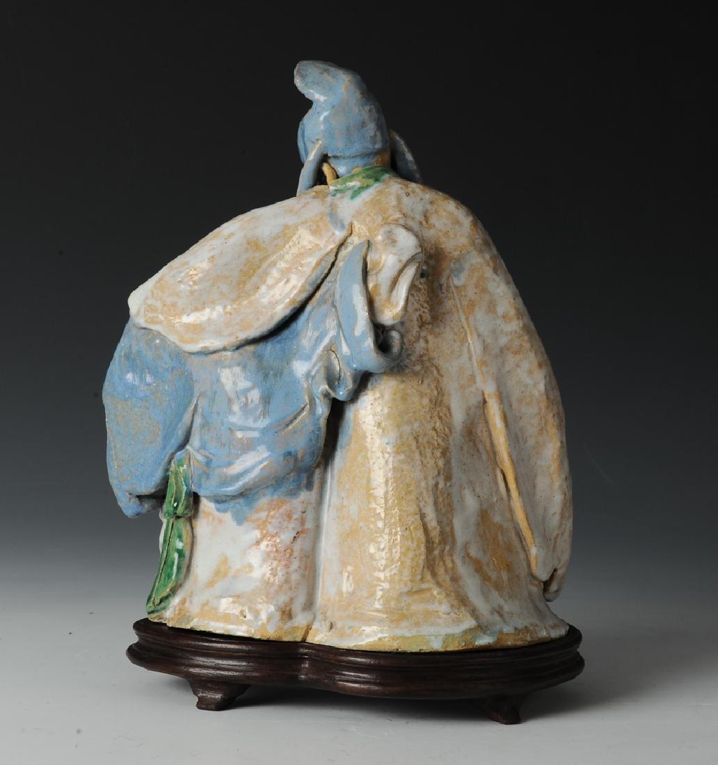 Shiwan Drunken Libai Statue w/ Stand, 19th C - 3
