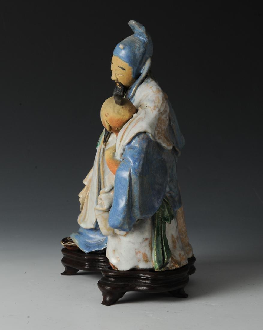 Shiwan Drunken Libai Statue w/ Stand, 19th C - 9