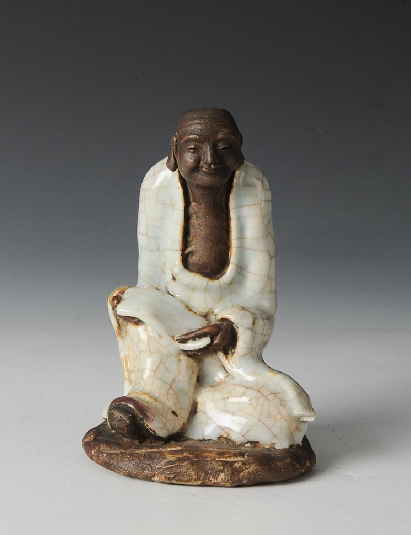 Shiwan Statue of Luohan w/ Scripture, 18th C