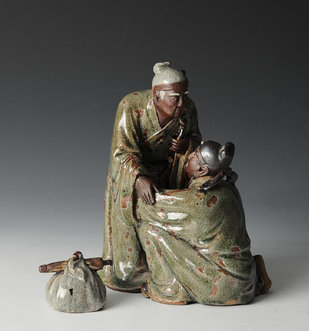 Shiwan Statue of Yue Fei & Mother, 19-Early 20th C