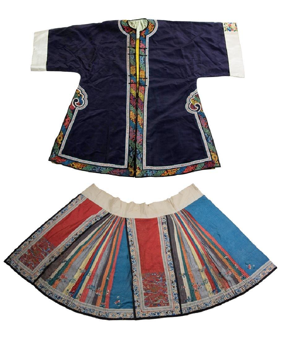 Chinese Set of Ladies Silk Skirt & Tunic, 19th C