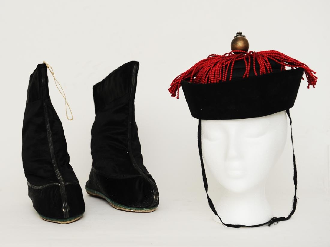 Chinese Silk Hat and Pair of Shoes, 19th C