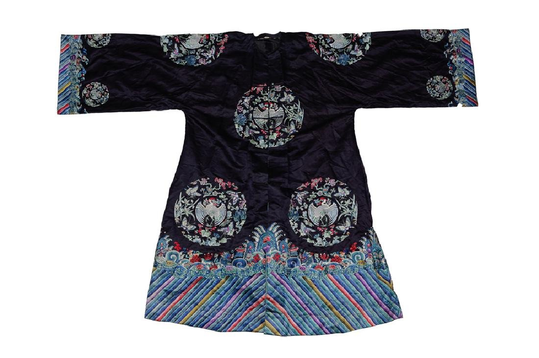 Chinese Black Silk Ladies Robe, 19th Century