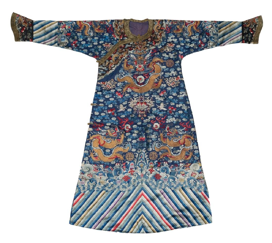 Blue Silk Dragon Robe w/ Hidden Dragon, 19th C