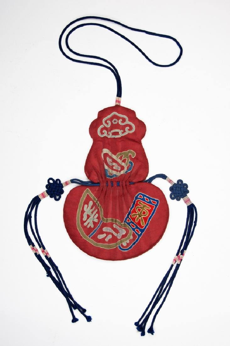 Red Silk Chinese Purse, 19th Century