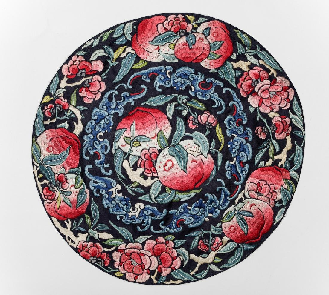 Chinese Round Embroidery w/ Peaches, 18th -19th C