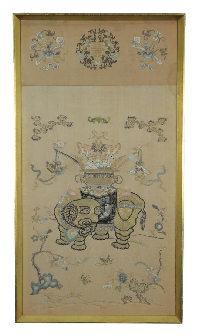 Chinese Silk Embroidery of Elephant, 19th Century